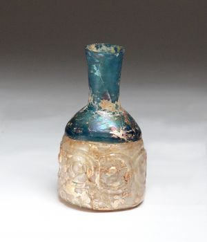 Two coloured glass bottle. Iran, 10th century.
